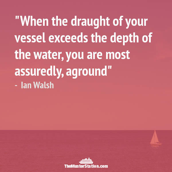 Ocean Quote 7 of 99: When the draught of your vessel exceeds the depth of the water, you are most assuredly, aground.