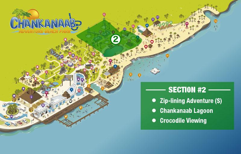 Chankanaab Park Map - Zip Line Crocodiles