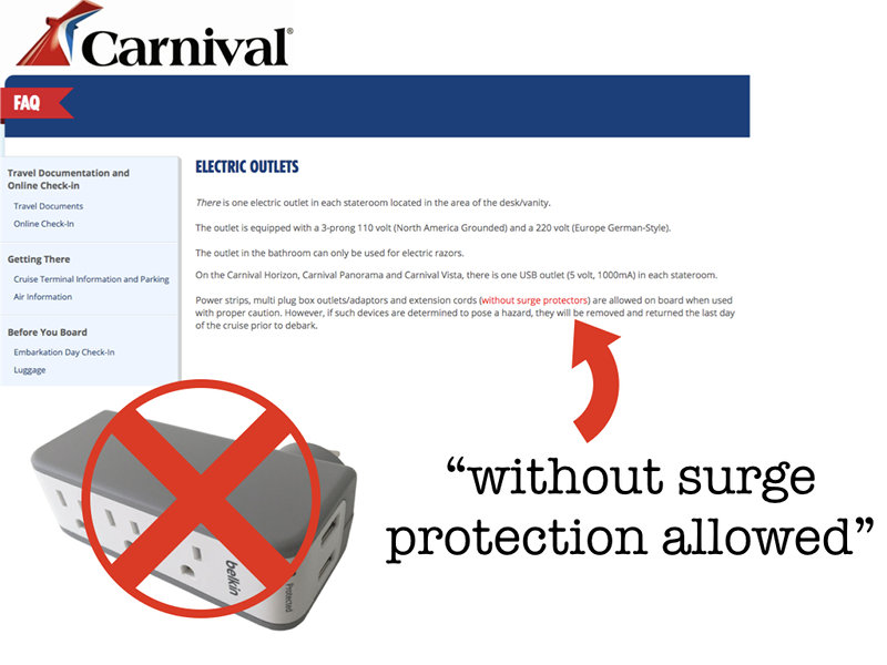 Cruise Line Surge Protector Ban
