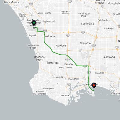 LAX to Long Beach Cruise Port