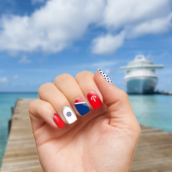 Cruise Nails on Hand Square Cruise Ship BG
