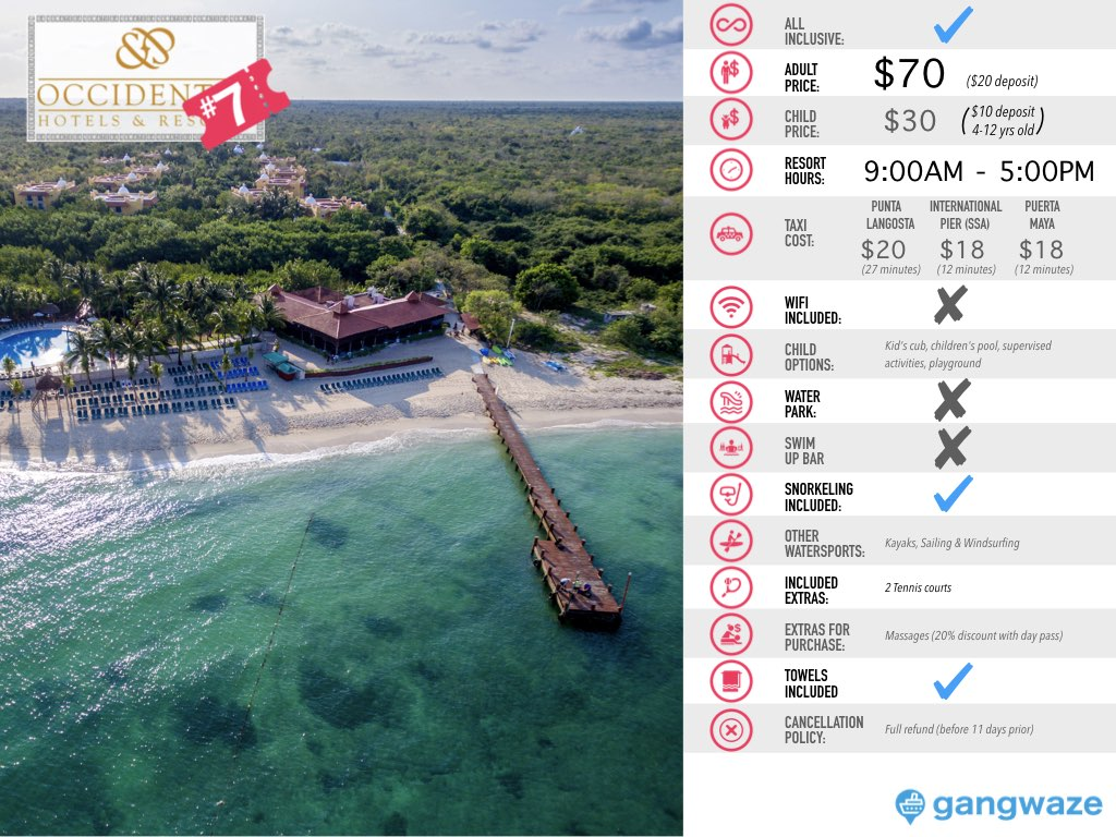 Occidental Cozumel Day Pass Info